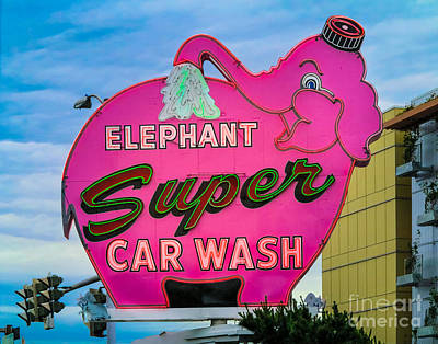 Nostalgic Sign Photograph - Elephant Super Car Wash by Inge Johnsson