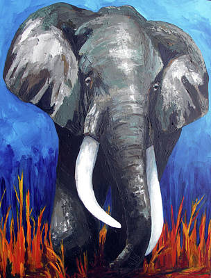 Painting - Elephant - The Gentle by Patricia Awapara