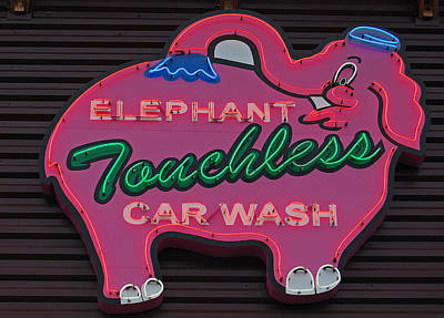 Photograph - Pink Elephant - Elephant Touchless Car Wash by Jani Freimann