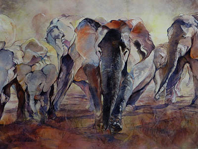 Wall Art - Painting - Elephant Walk by Beverly Berwick