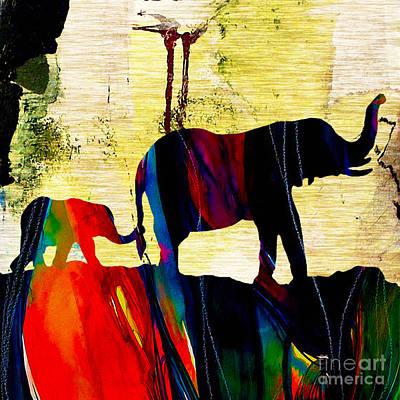 Mammals Mixed Media - Elephant Walk by Marvin Blaine
