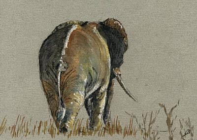 Elephant Walking Print by Juan  Bosco
