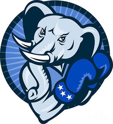 Elephant With Boxing Gloves Democrat Mascot Art Print by Aloysius Patrimonio