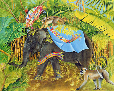 Elephant With Monkeys And Parasol, 2005 Acrylic On Canvas Art Print by E.B. Watts