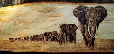 Pyrography Sculpture - Elephants Are Contagious by Ciprian Macovei