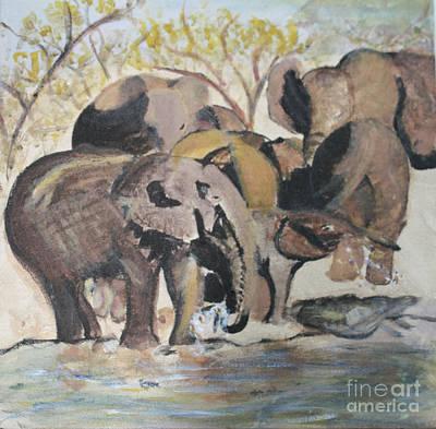 Zeni Shariff Painting - Elephants At A River by Zeni Shariff