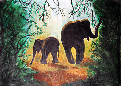 Elephants At Night Art Print