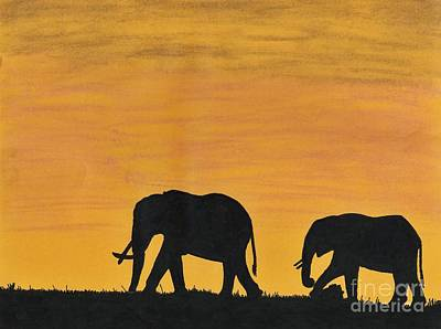 Elephant Pencil Drawing Drawing - Elephants - At - Sunset by D Hackett