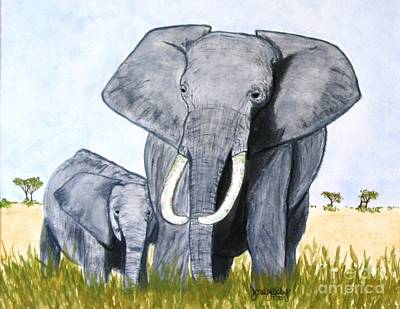Painting - Elephants by Denise Railey