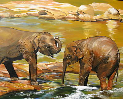 Two Little Boys Painting - Elephants- Different Dimensions by Cathy Jacobs