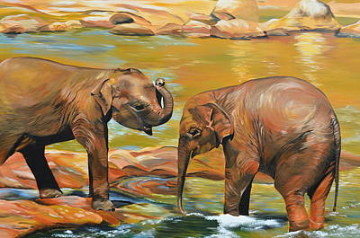 Water Play Painting - Elephants From Sri Lanka by Cathy Jacobs