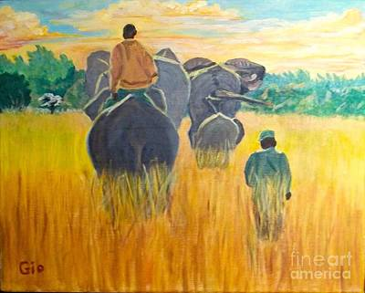 Poacher Painting - Elephants Going Home At Sunset In Zimbabwe by Frank Giordano