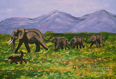 Zeni Shariff Painting - Elephants In A Valley by Zeni Shariff