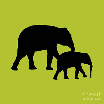 Digital Art - Elephants In Black And Chartreuse by Jackie Farnsworth