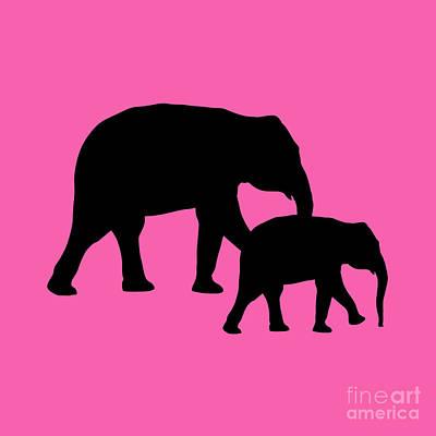 Digital Art - Elephants In Black And Pink by Jackie Farnsworth