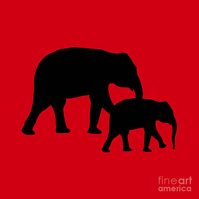 Digital Art - Elephants In Black And Red by Jackie Farnsworth