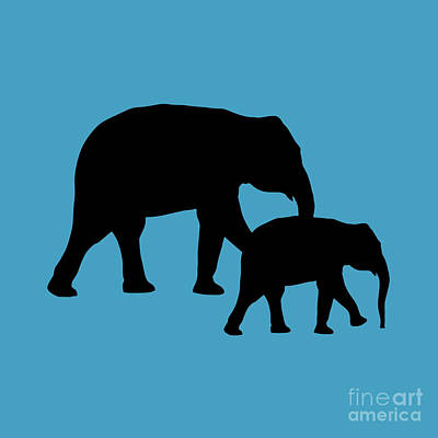Digital Art - Elephants In Black And Turquoise by Jackie Farnsworth