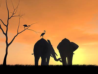 Elephants In Friendship Art Print by Kim Freitas