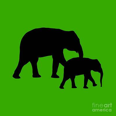 Digital Art - Elephants In Green And Black by Jackie Farnsworth