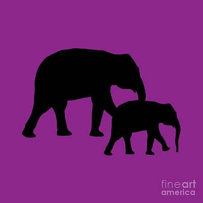 Digital Art - Elephants In Purple And Black by Jackie Farnsworth