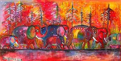 Quebec Painting - Elephants In Quebec by Cheryl Braganza