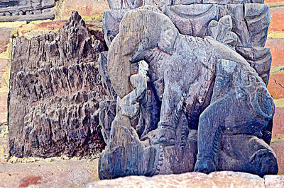 Elephants In The Missionary Position In Wooden Carving In Bhaktapur-nepal  Art Print by Ruth Hager