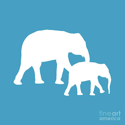 Digital Art - Elephants In White And Turquoise by Jackie Farnsworth