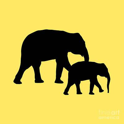 Digital Art - Elephants In Yellow And Black by Jackie Farnsworth