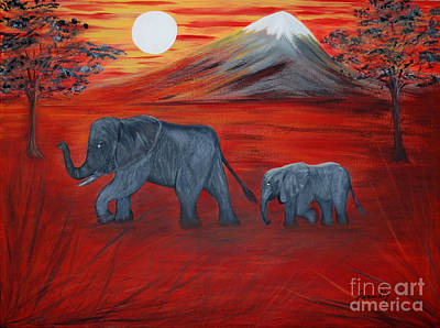Painting - Elephants. Inspirations Collection. by Oksana Semenchenko