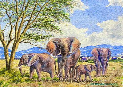 Painting - Elephants by Joseph Thiongo