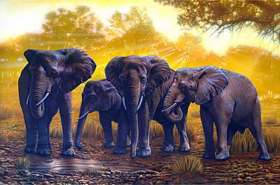 Elephants Art Print by Larry Taugher