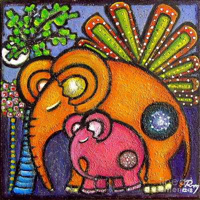 Lullaby Painting - Elephant's Lullaby Mother And Baby by Rosemary Lim