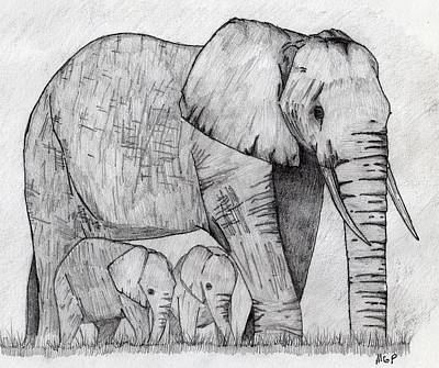 Drawings Royalty Free Images - Elephants Royalty-Free Image by Michael Panno