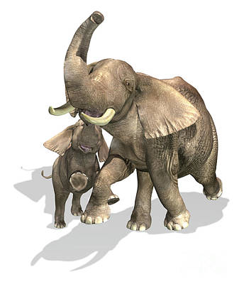 Caring Mother Digital Art - Elephants, Mother And Son by Leonello Calvetti