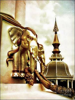 Photograph - Elephants Of The Temple by Ian Gledhill