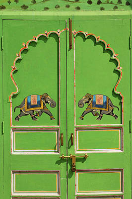 Elephants Painted On Green Door, City Print by Adam Jones