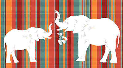 Autumn Art Painting - Elephants Share by Alison Schmidt Carson