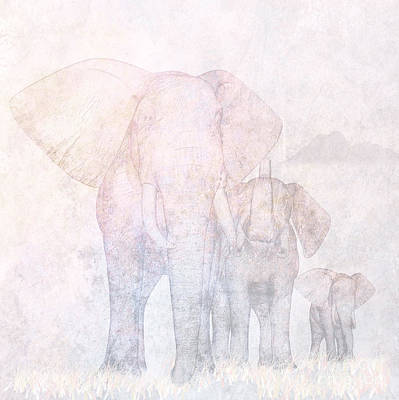 Together Digital Art - Elephants - Sketch by John Edwards