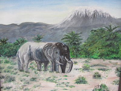 Elephants Strolling With View Of Mt. Kilimanjaro  Art Print