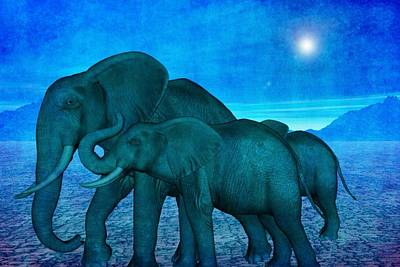 Digital Art - Elephants by T T