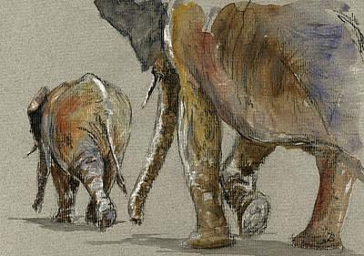 Elephants Walking Print by Juan  Bosco