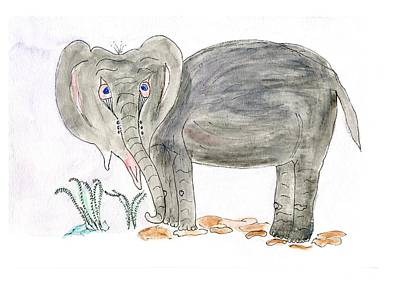 Painting - Elephoot Is Sad. by Helen Holden-Gladsky