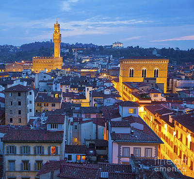 Landmark Photograph - Elevated Night View Of Central Florence by Liz Leyden