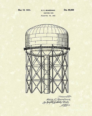 Drawing - Elevated Tank 1933 Patent Art by Prior Art Design