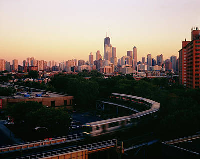 Chicago Loop Photograph - Elevated Train In Downtown Chicago by Panoramic Images