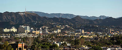 San Gabriel Photograph - Elevated View Of A City With Mountain by Panoramic Images