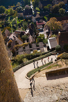 Chapelle Photograph - Elevated View Of A Village With Chateau by Panoramic Images