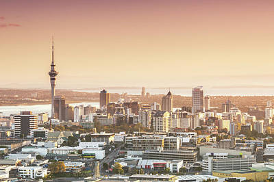 Elevated View Of Auckland City And Cbd Art Print by Matteo Colombo