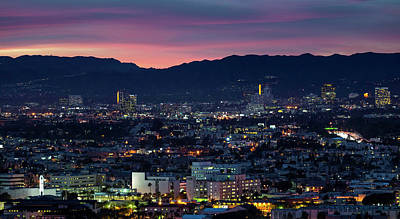 Elevated View Of Buildings At Dusk Art Print by Panoramic Images
