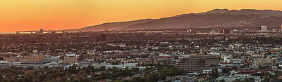 Sunset Studios Photograph - Elevated View Of City At Sunset, Los by Panoramic Images